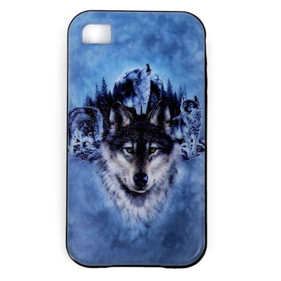 Изображение Задняя панель для iPhone 4/4S резиновая с бампером Волк на голубом