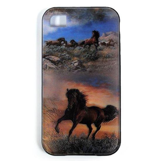 Изображение Задняя панель для iPhone 4/4S резиновая с бампером Конь