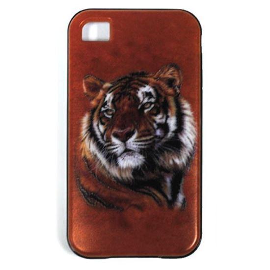 Изображение Задняя панель для iPhone 4/4S резиновая с бампером Тигр на коричневом