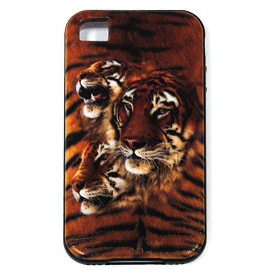 Изображение Задняя панель для iPhone 4/4S резиновая с бампером Тигры