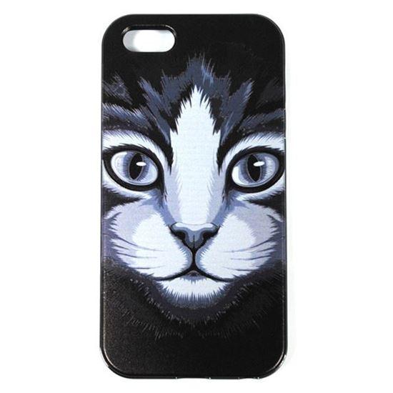 Изображение Задняя панель для iPhone 5/5S рeзиновая с бампером Face Кошка