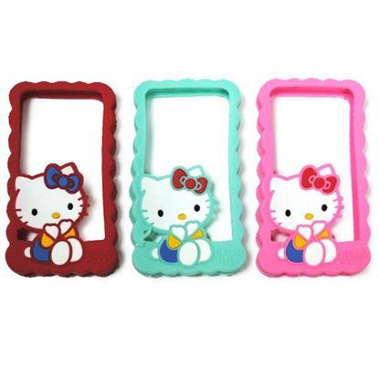 Изображение Бампер резиновый для iPhone 4/4S Hello Kitty малиновый