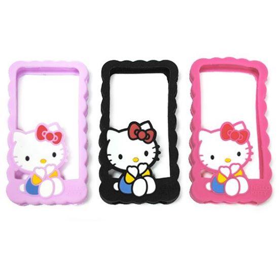 Изображение Бампер резиновый для iPhone 4/4S Hello Kitty чёрный