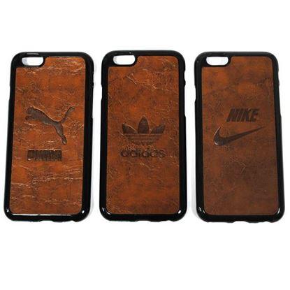 Изображение Задняя панель для iPhone 6 Plus резиновая с кожей Adidas коричневая