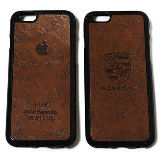 Изображение Задняя панель для iPhone 6 Plus резиновая с кожей Porsche коричневая