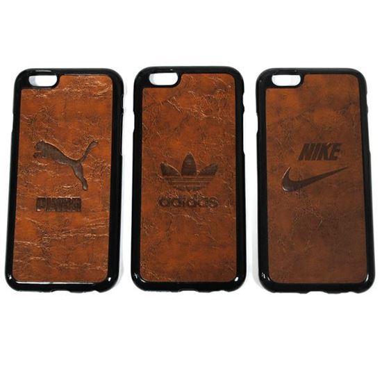 Изображение Задняя панель для iPhone 6 резиновая с кожей Nike коричневая