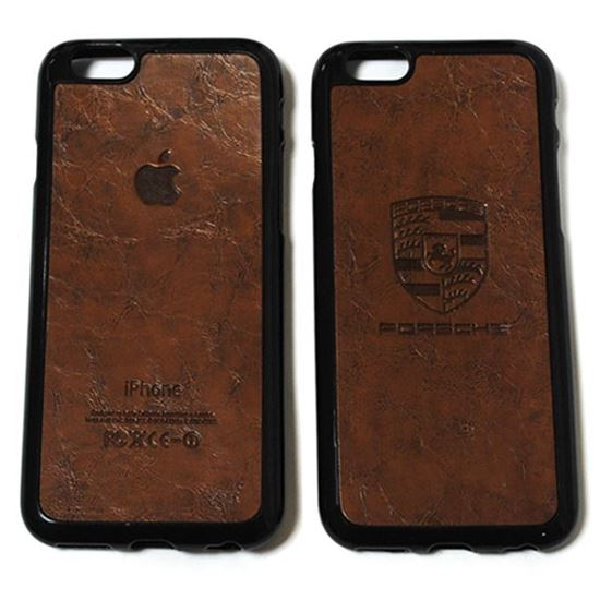 Изображение Задняя панель для iPhone 6 резиновая с кожей Porsche коричневая