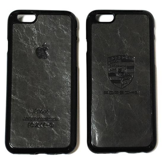 Изображение Задняя панель для iPhone 6 резиновая с кожей Porsche тёмно-серая
