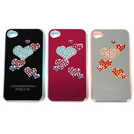Изображение Задняя панель для iPhone 4/4S световая алюминиевaя со стразами Сердечки серебристая