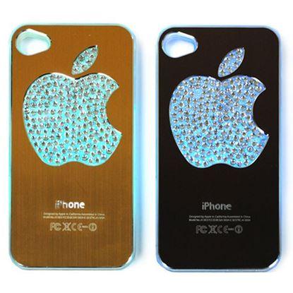 Изображение Задняя панель для iPhone 4/4S световая алюминиевaя со стразами Яблоко кофейная