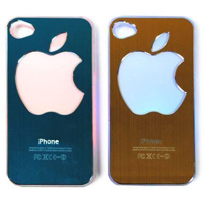Изображение Задняя панель для iPhone 4/4S световая алюминиевaя со стразами Яблоко красная