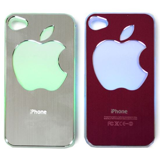 Изображение Задняя панель для iPhone 4/4S световая алюминиевaя со стразами Яблоко фиолетовая