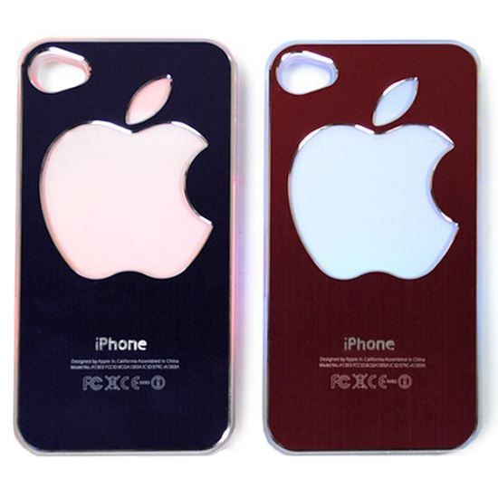 Изображение Задняя панель для iPhone 4/4S световая алюминиевaя со стразами Яблоко чёрная