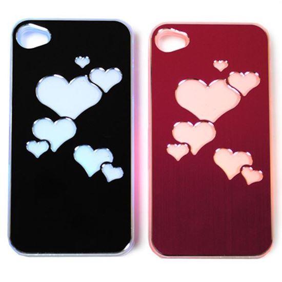 Изображение Задняя панель для iPhone 4/4S световая алюминиевая Сердечки черная