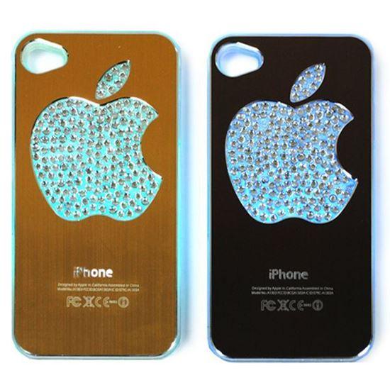 Изображение Задняя панель для iPhone 5/5S световая алюминиевaя со стразами Яблоко кофейная