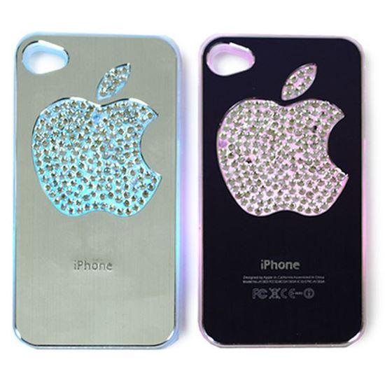 Изображение Задняя панель для iPhone 5/5S световая алюминиевaя со стразами Яблоко фиолетовая