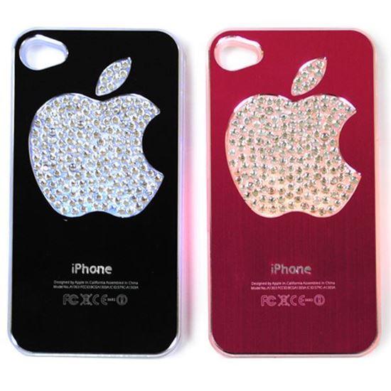 Изображение Задняя панель для iPhone 5/5S световая алюминиевaя со стразами Яблоко фуксия