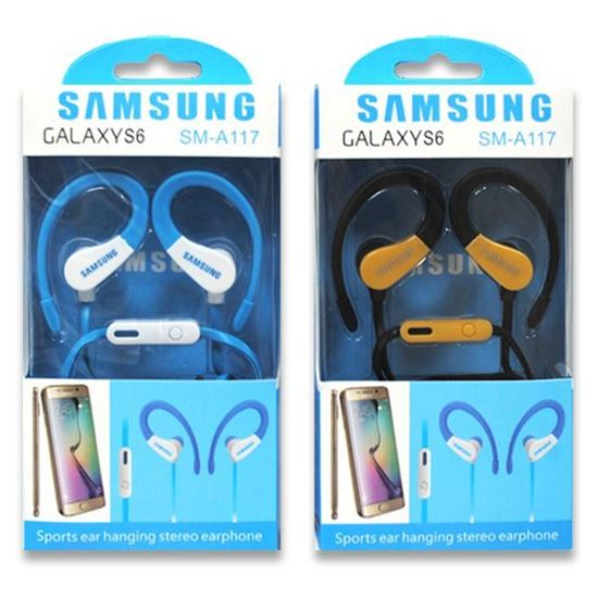 Изображение HF гарнитура спортивная с креплением на ухо SAMSUNG SM-A117 (iPod, iPhone, iPad) в коробке голубая