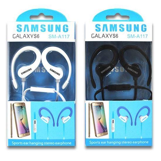 Изображение HF гарнитура спортивная с креплением на ухо SAMSUNG SM-A117 (iPod, iPhone, iPad) в коробке чёрная