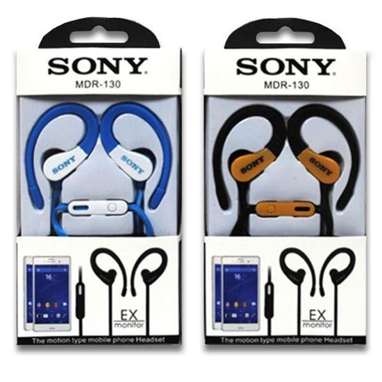 Изображение HF гарнитура спортивная с креплением на ухо Sony MDR-130 (iPod, iPhone, Samsung) в коробочке голубая