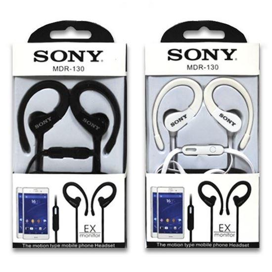 Изображение HF гарнитура спортивная с креплением на ухо Sony MDR-130 (iPod, iPhone, Samsung) в коробочке чёрная