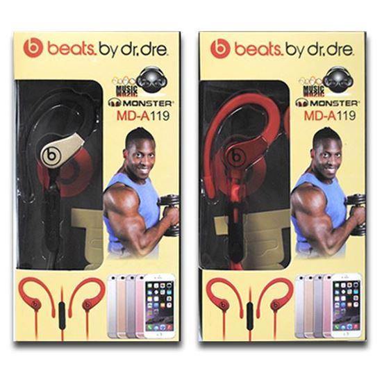 Изображение HF гарнитура спортивная с креплением на ухо Monster MD-A119 (iPod, iPhone, iPad) в коробке красная