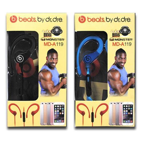 Изображение HF гарнитура спортивная с креплением на ухо Monster MD-A119 (iPod, iPhone, iPad) в коробке синяя