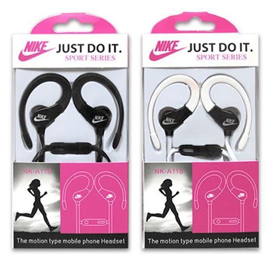 Изображение HF гарнитура спортивная с креплением на ухо Nike NK-А118 (iPod, iPhone, Samsung) в коробочке чёрная
