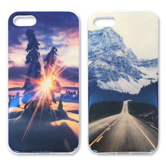 Изображение Задняя панель для iPhone 4/4S силикон лаковый Закат в еловом лесу
