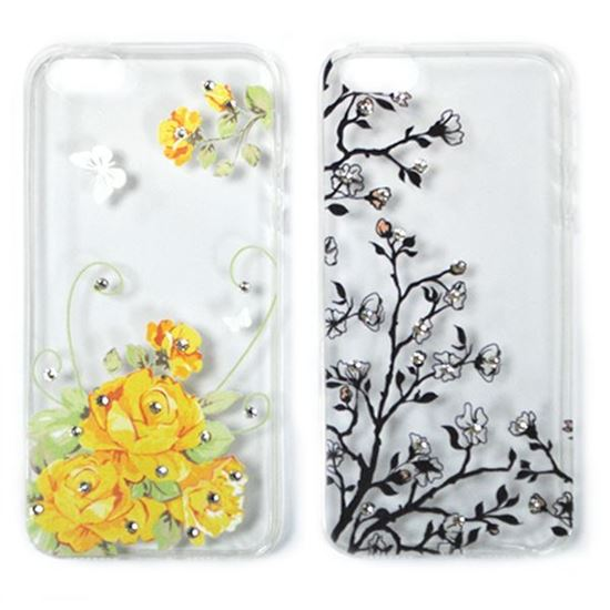 Изображение Задняя панель для iPhone 5/5S тонкий силикон со стразами Жёлтые розы