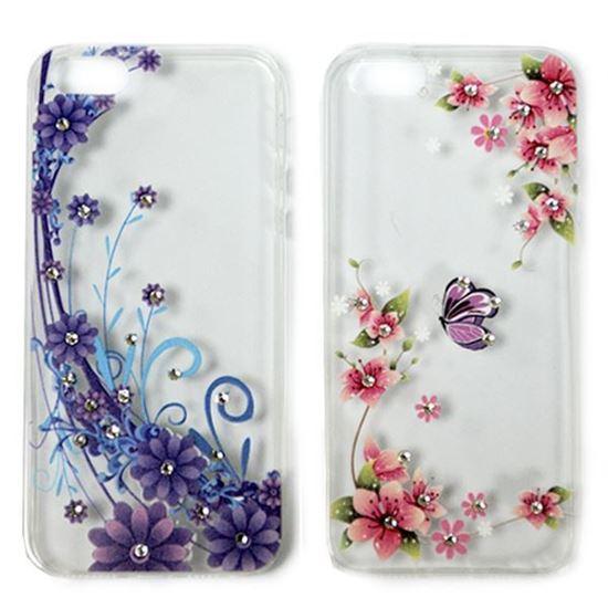 Изображение Задняя панель для Samsung i9600 Galaxy S5 тонкий силикон со стразами Цветы розовые с бабочкой
