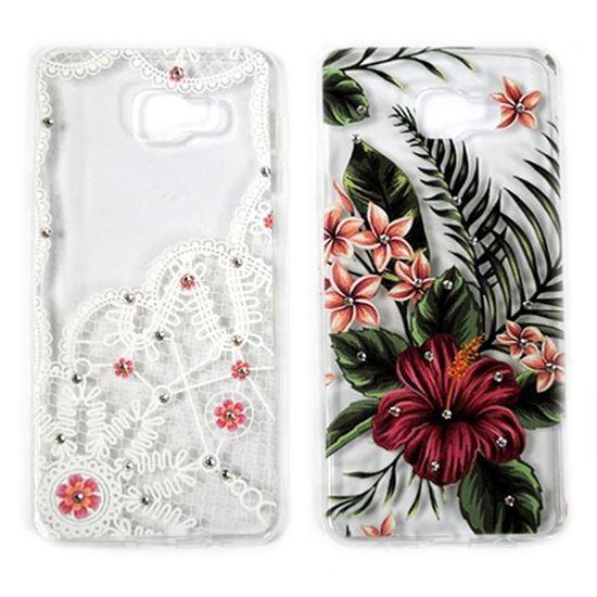 Изображение Задняя панель для Samsung SM-A710F Galaxy A7 2016 тонкий силикон со стразами Кружева и цветы