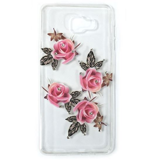 Изображение Задняя панель для Samsung SM-G313H Galaxy Ace4 Lite тонкий силикон со стразами Розовые розы