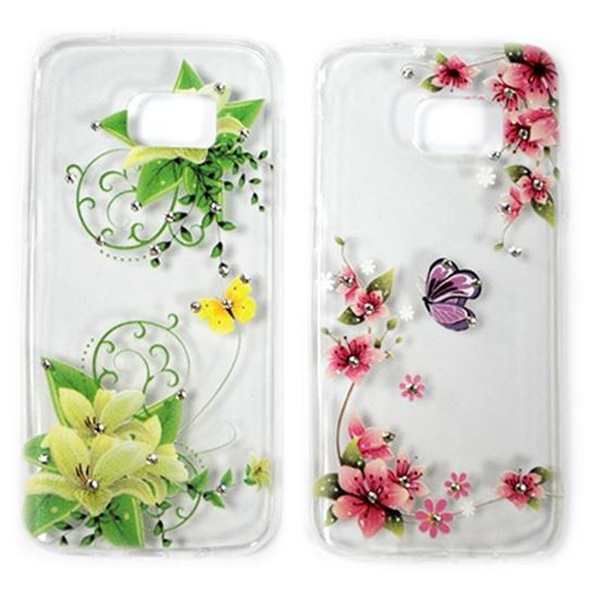 Изображение Задняя панель для Samsung SM-G313H Galaxy Ace4 Lite тонкий силикон со стразами Цветы роз. с бабочкой