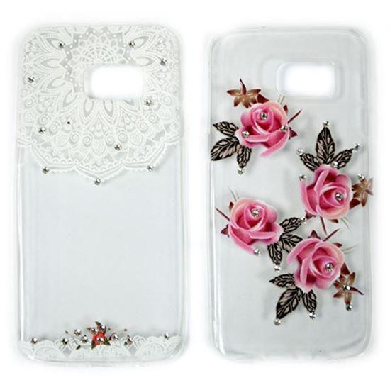 Изображение Задняя панель для Samsung SM-J500F Galaxy J5 тонкий силикон со стразами Розовые розы