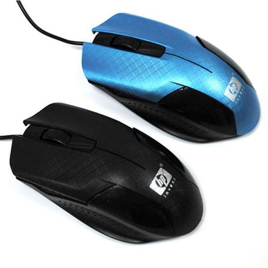 Изображение Мышь компьютерная проводная HP 802 рифлёная чёрно-голубая