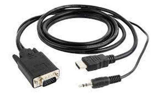 Изображение Кабель HDMI-VGA Cablexpert A-HDMI-VGA-03-6, 19M/15M + 3.5Jack, 1.8м, черный